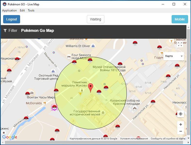поиск покемонов на карте