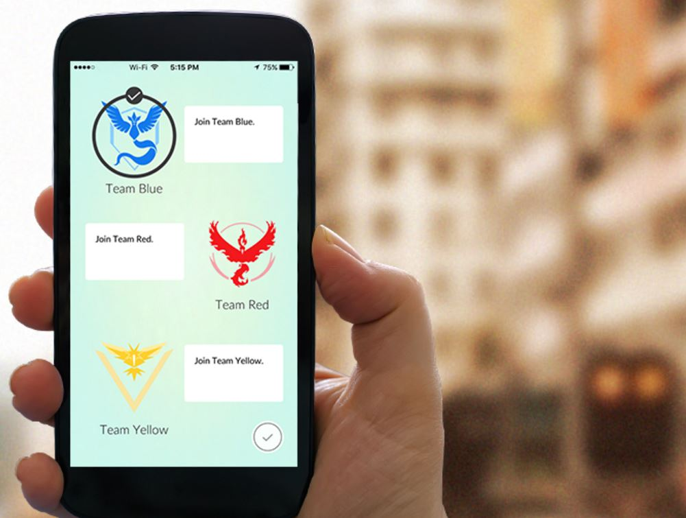 Pokemon GO выбор команды