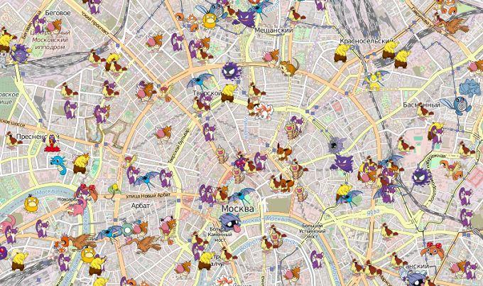 Карта всех покемонов для Москвы