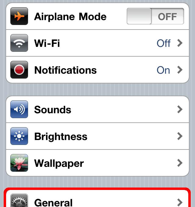 Общие настройки в iPhone