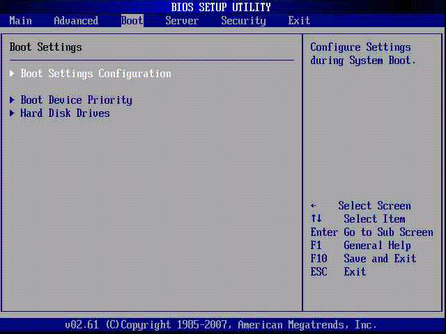 Boot Settings в AMI BIOS