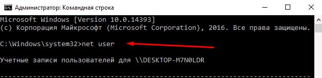 Командная строка: net user