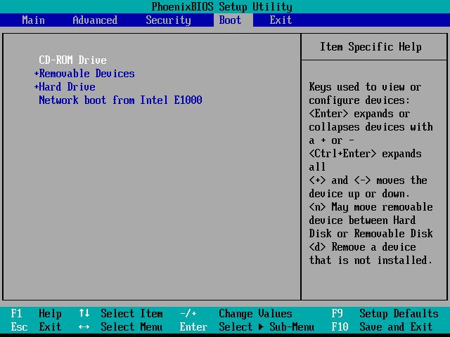 Назначение загрузочных устройств в Phoenix BIOS Setup Utility
