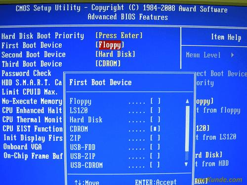 Назначение загрузочных устройств в Award Software CMOS Setup Utility