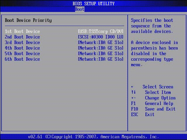 Приоритет загрузочных устройств в AMI BIOS