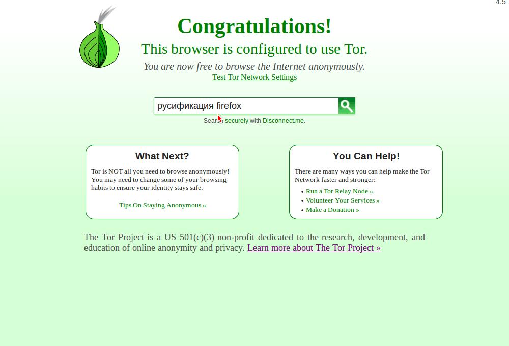 Стартовая страница Tor Browser