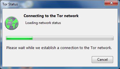 Прогресс подключения к сети Tor