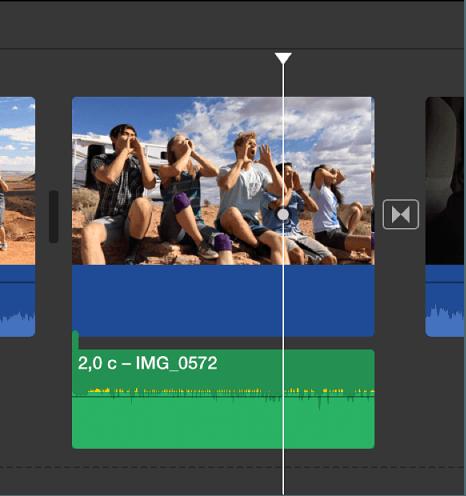 Отделение панели аудио в iMovie