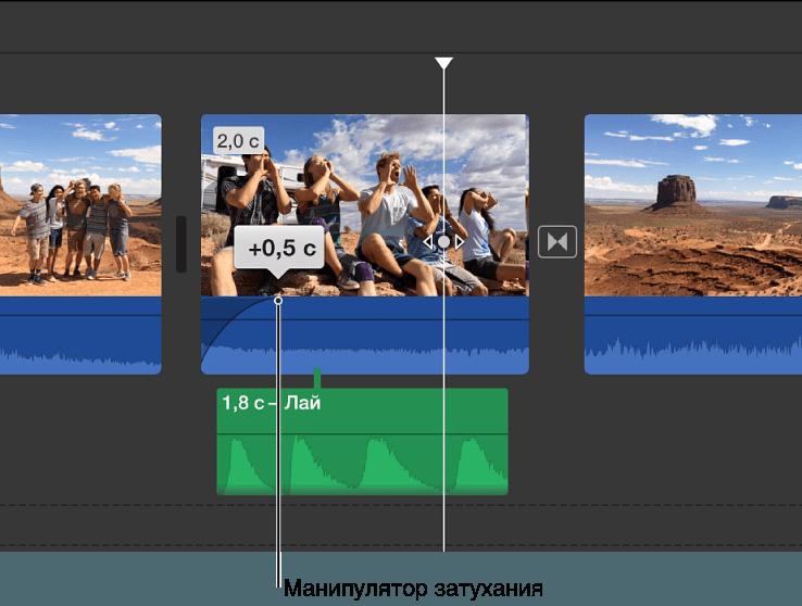 Настройки нарастания и затухания звуков в iMovie