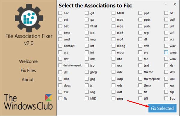 Начала процесса в File Association Fixer
