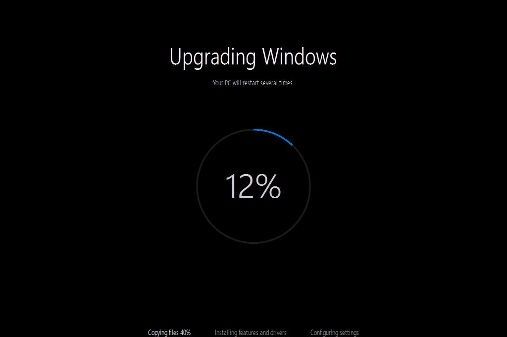 Windows 10 Updater приступил непосредственно к установке