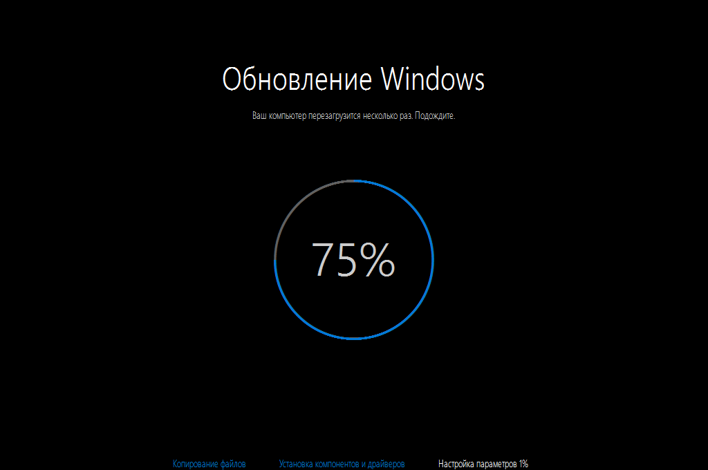 Окончание установки Windows 10