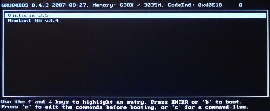 Пример загрузочного меню с программой Victoria
