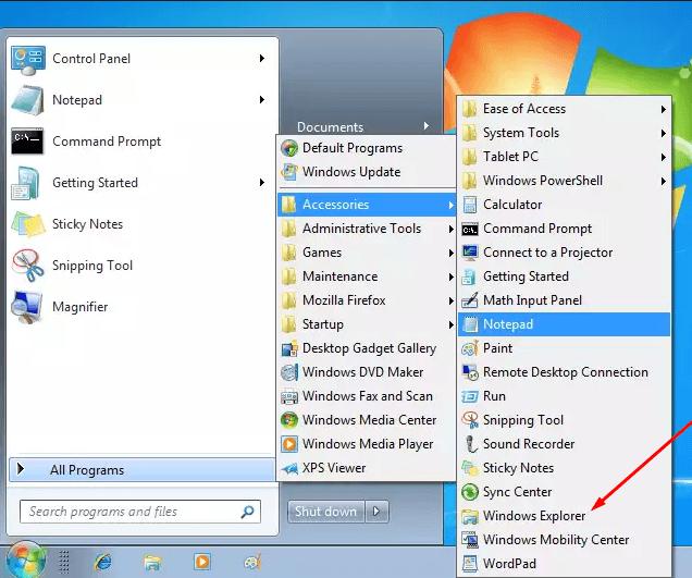 Список программ в меню «Пуск»