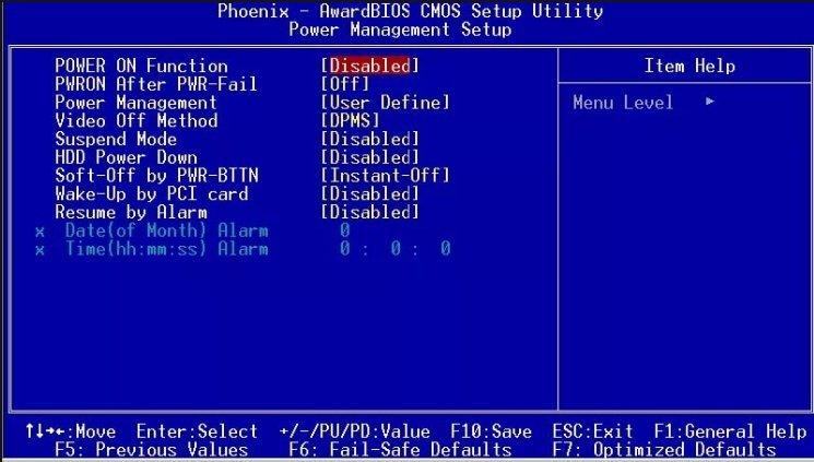 Управление питанием в BIOS