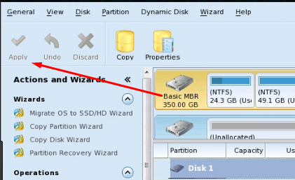 Применение изменений в Minitool Partition Wizard Bootable