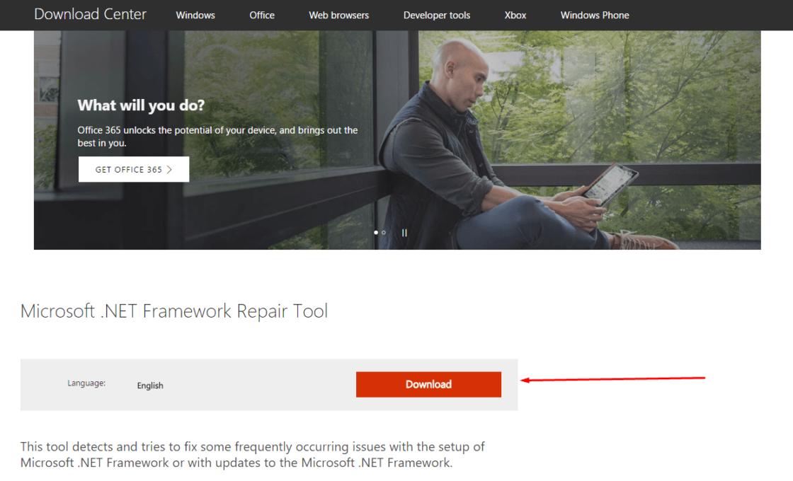 Скачивание Microsoft .NET Framework Repair Tool