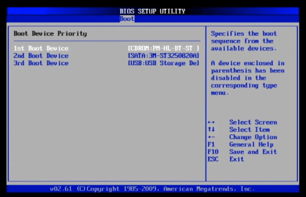 Раздел «Boot» в BIOS