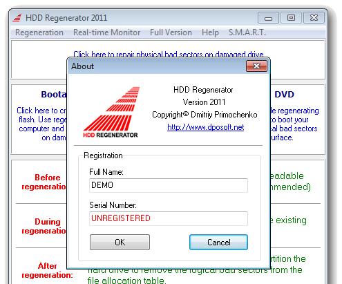 Пробная версия программы HDD Regenerator