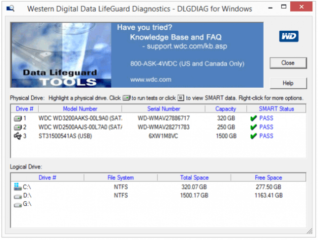 Программа Western Digital Data Lifeguard Diagnostic