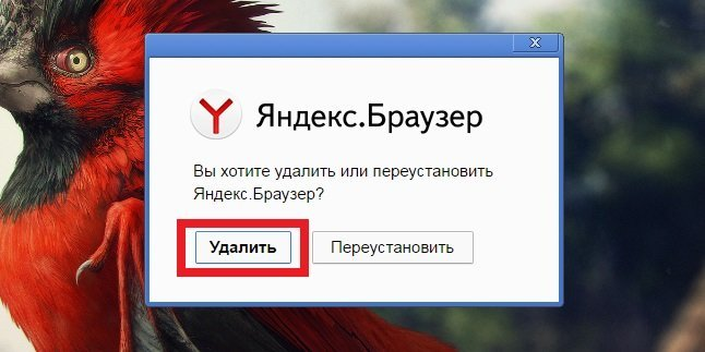 Окно удаления Яндекс.Браузера