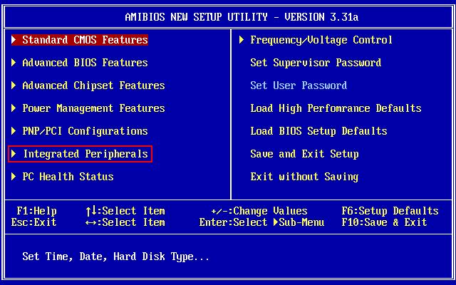 Главный экран BIOS