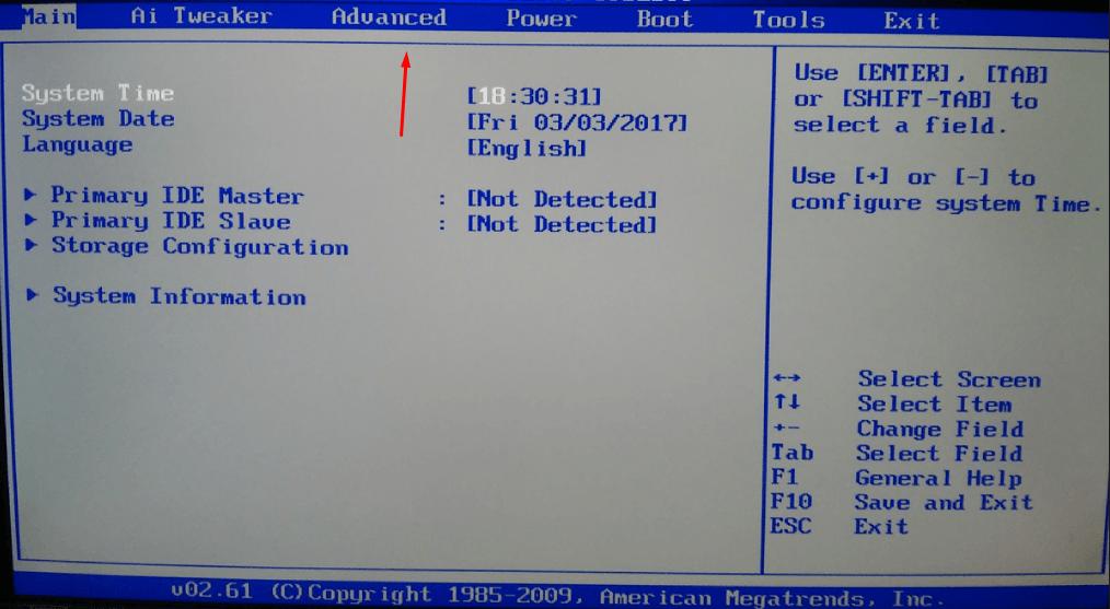Переход по BIOS