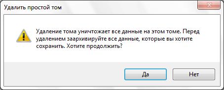 Сообщение-запрос Windows на удаление тома