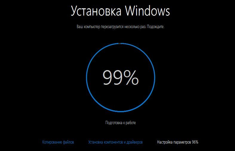 Установка Windows 99%