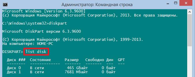 Команда list disk в «Командной строке»