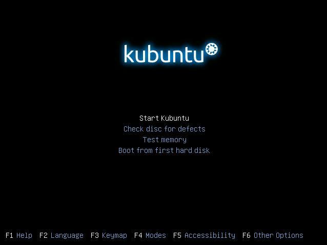 Начало установки Kubuntu