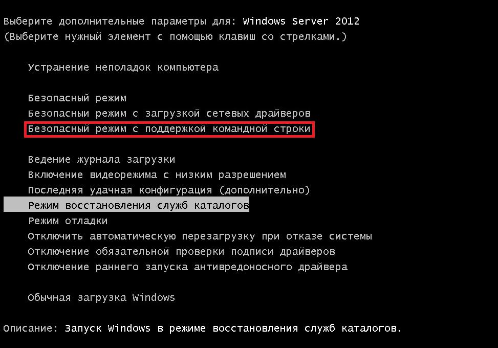 «Безопасный режим с поддержкой командной строки» в списке дополнительных вариантов загрузки