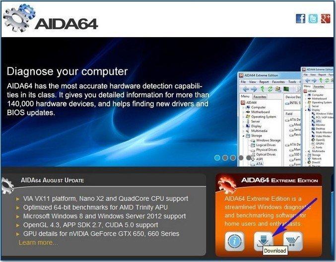 Официальный сайт программы AIDA64