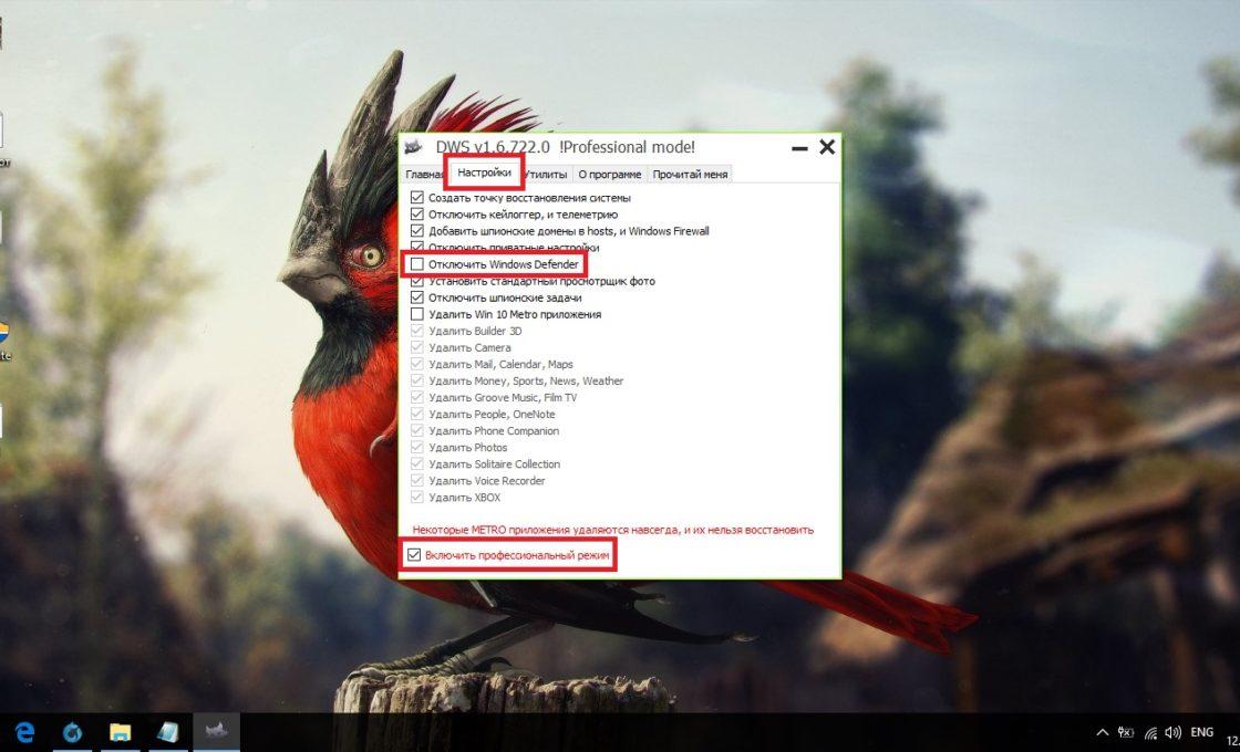 Настройка Destroy Windows 10 Spying