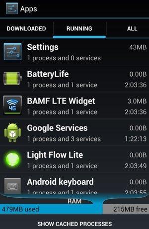 Запущенные приложения на Android