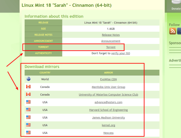 Выбор способа загрузки Linux Mint с официального сайта