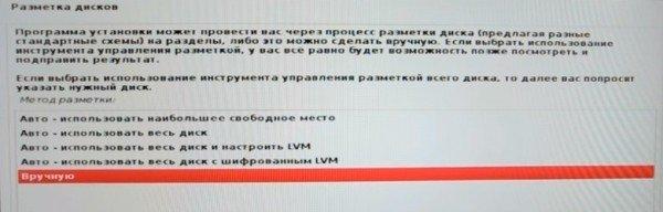Окно разметки Kali Linux