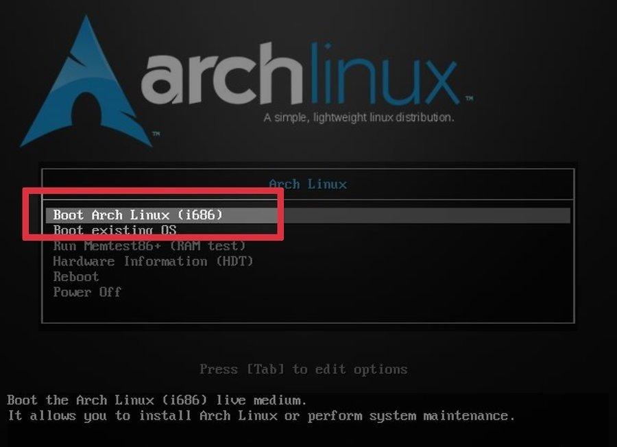 Начало установки Arch Linux