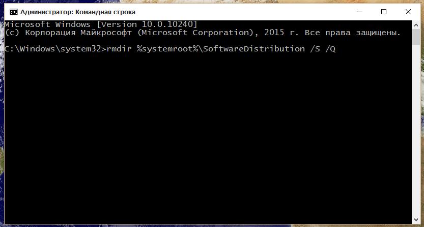 Ввод команд для оптимизации кэша обновлений Windows 10