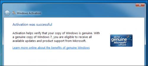 Успешная активация Windows 7