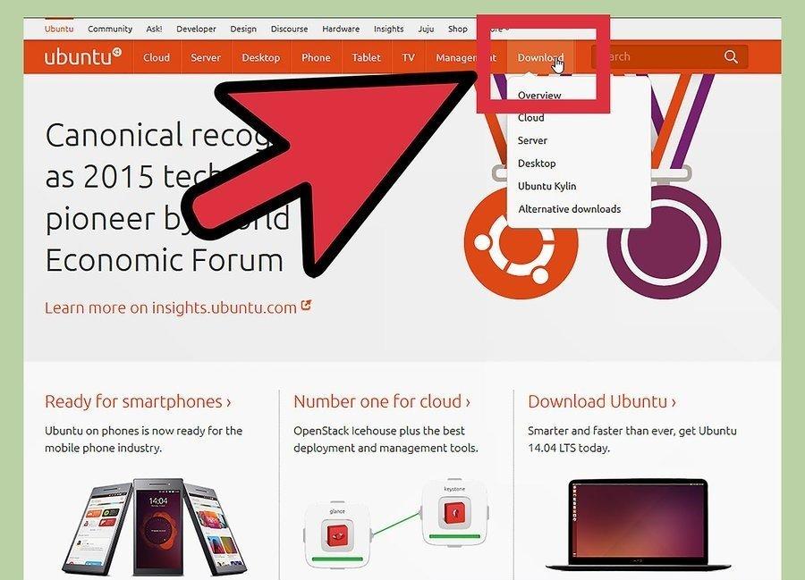 Загрузка образа Ubuntu с официального сайта