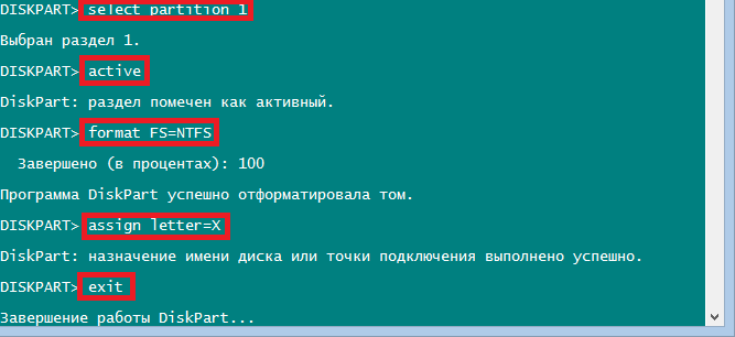 Команды select partition 1, active, format fs=ntfs, assign letter=x и exit