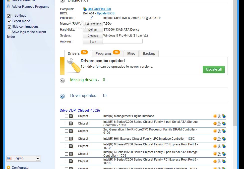 Интерфейс DriverPack Solution