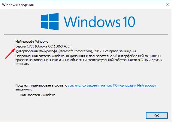 Версия сборки в информации о системе Windows 10