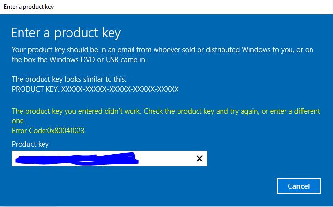 Ошибка 0x80041023