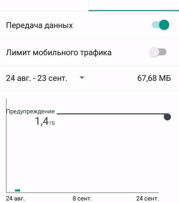 «Передача данных» в «Настройках»