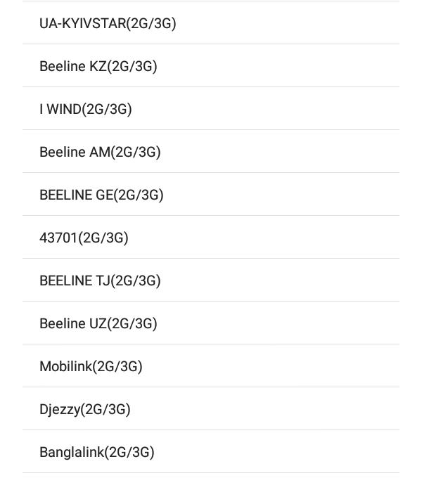 Пример настройки списка с оператором Beeline