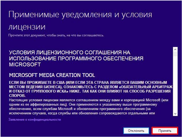 Принятие лицензионного соглашения Media Creation Tool