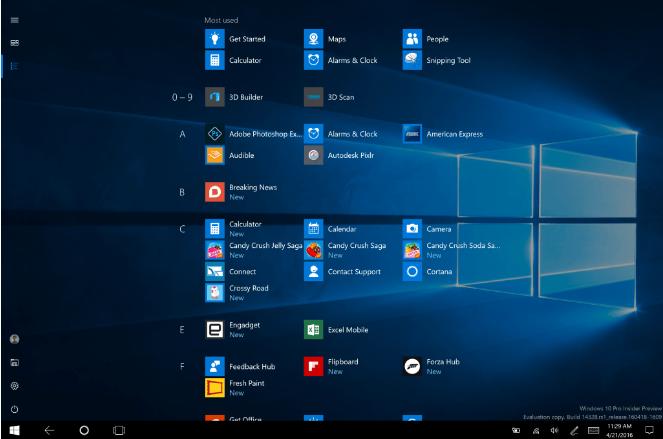 Режим планшета в Windows 10 с обновлением 1607