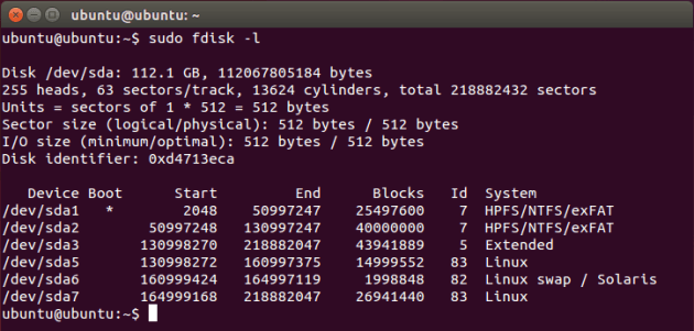 Структура жёсткого диска после введения команды sudo fdisk -l